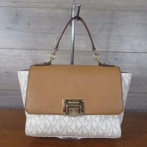 Michael Kors Vanilla MK Flap Satchel Handbag